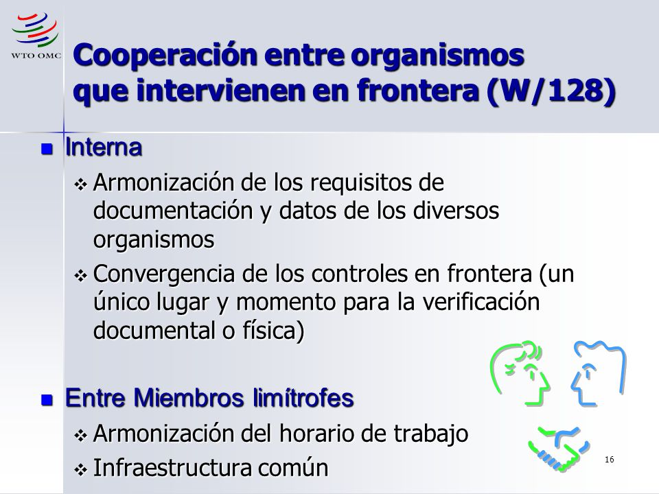 16 Cooperación entre organismos que intervienen en frontera (W/128) Interna Interna Armonización de los requisitos de documentación y datos de los div
