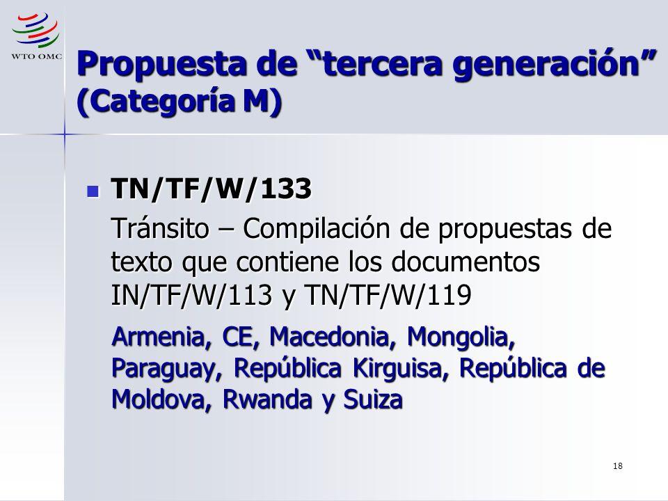 18 Propuesta de tercera generación (Categoría M) TN/TF/W/133 TN/TF/W/133 Tránsito – Compilación de propuestas de texto que contiene los documentos IN/