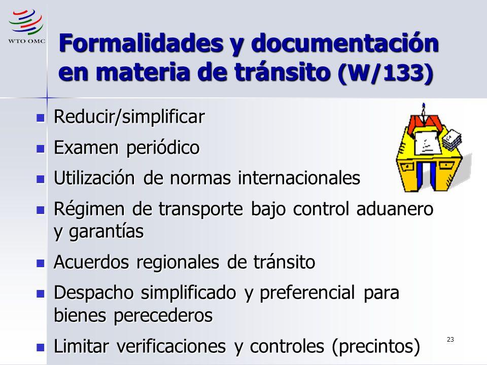 23 Formalidades y documentación en materia de tránsito (W/133) Reducir/simplificar Reducir/simplificar Examen periódico Examen periódico Utilización d