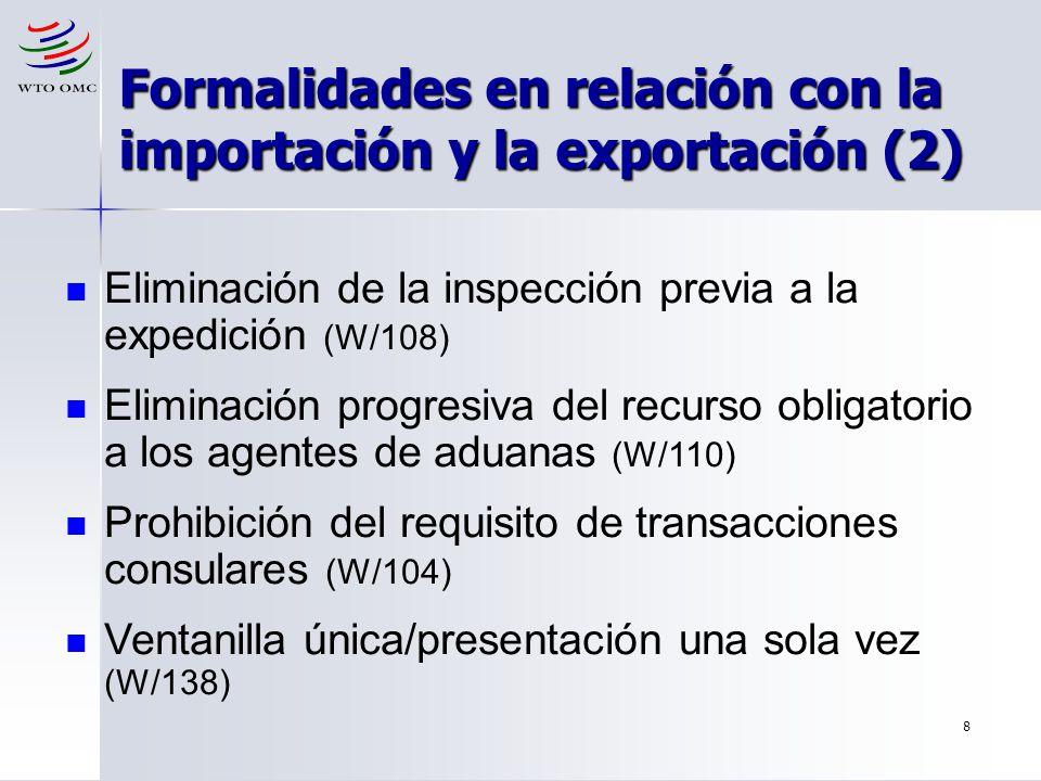 8 Formalidades en relación con la importación y la exportación (2) Eliminación de la inspección previa a la expedición (W/108) Eliminación progresiva