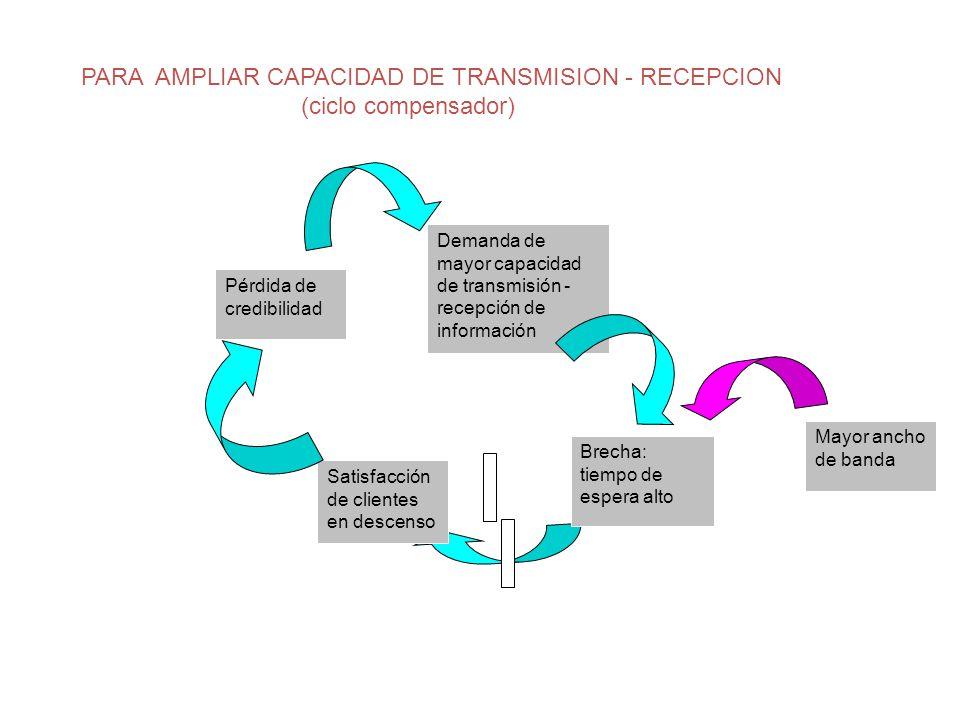 Pérdida de credibilidad Demanda de mayor capacidad de transmisión - recepción de información Brecha: tiempo de espera alto Mayor ancho de banda PARA A