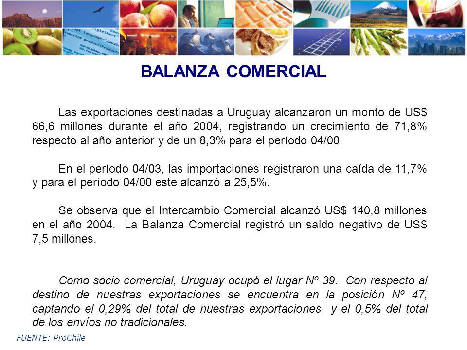 FUENTE: ProChile BALANZA COMERCIAL Las exportaciones destinadas a Uruguay alcanzaron un monto de US$ 66,6 millones durante el año 2004, registrando un