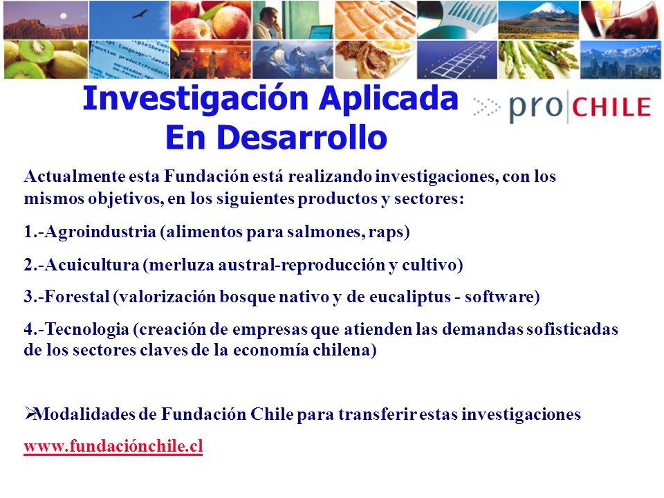 Investigación Aplicada En Desarrollo Actualmente esta Fundación está realizando investigaciones, con los mismos objetivos, en los siguientes productos