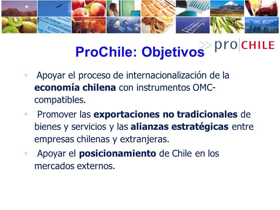 ProChile: Objetivos Apoyar el proceso de internacionalización de la economía chilena con instrumentos OMC- compatibles. Promover las exportaciones no
