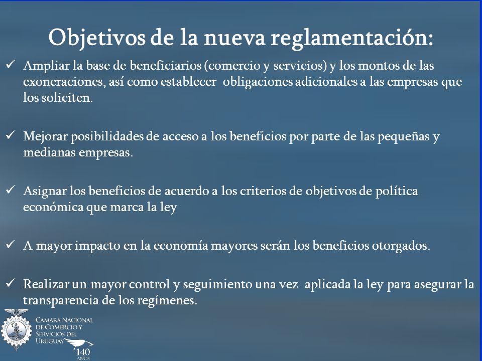 Objetivos de la nueva reglamentación: Ampliar la base de beneficiarios (comercio y servicios) y los montos de las exoneraciones, así como establecer obligaciones adicionales a las empresas que los soliciten.