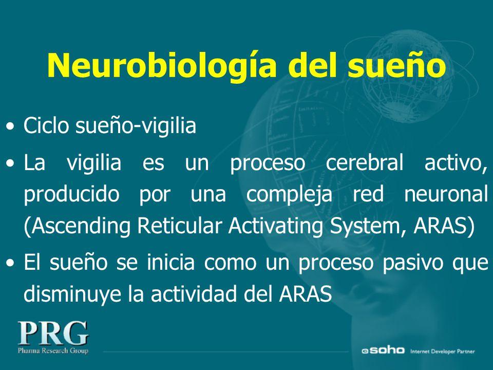 Neurobiología del sueño Ciclo sueño-vigilia La vigilia es un proceso cerebral activo, producido por una compleja red neuronal (Ascending Reticular Activating System, ARAS) El sueño se inicia como un proceso pasivo que disminuye la actividad del ARAS