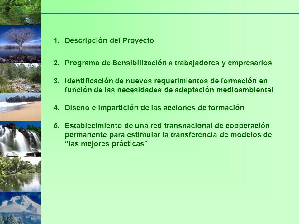 1.Descripción del Proyecto 2.Programa de Sensibilización a trabajadores y empresarios 3.Identificación de nuevos requerimientos de formación en función de las necesidades de adaptación medioambiental 4.Diseño e impartición de las acciones de formación 5.Establecimiento de una red transnacional de cooperación permanente para estimular la transferencia de modelos de las mejores prácticas