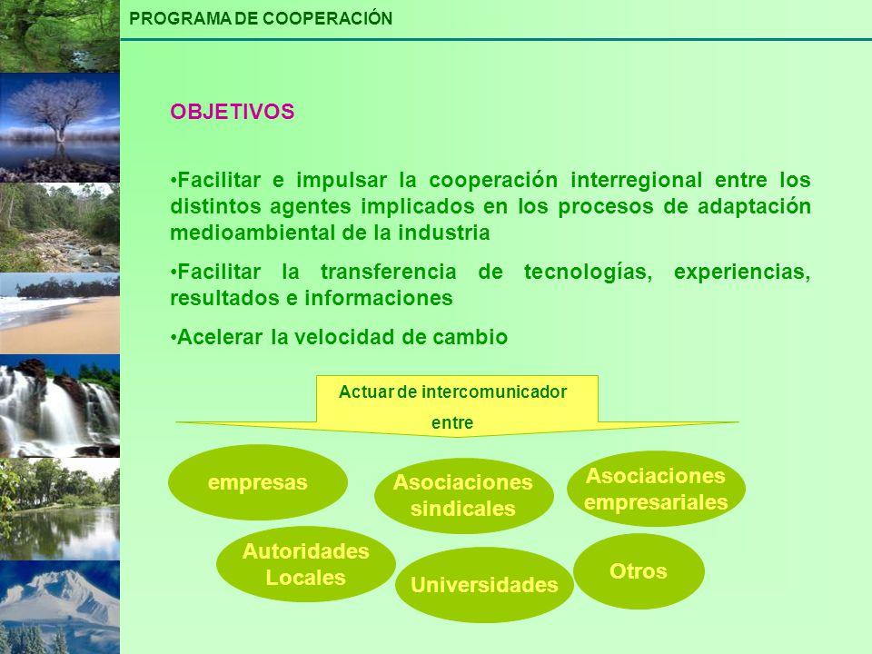 Facilitar e impulsar la cooperación interregional entre los distintos agentes implicados en los procesos de adaptación medioambiental de la industria