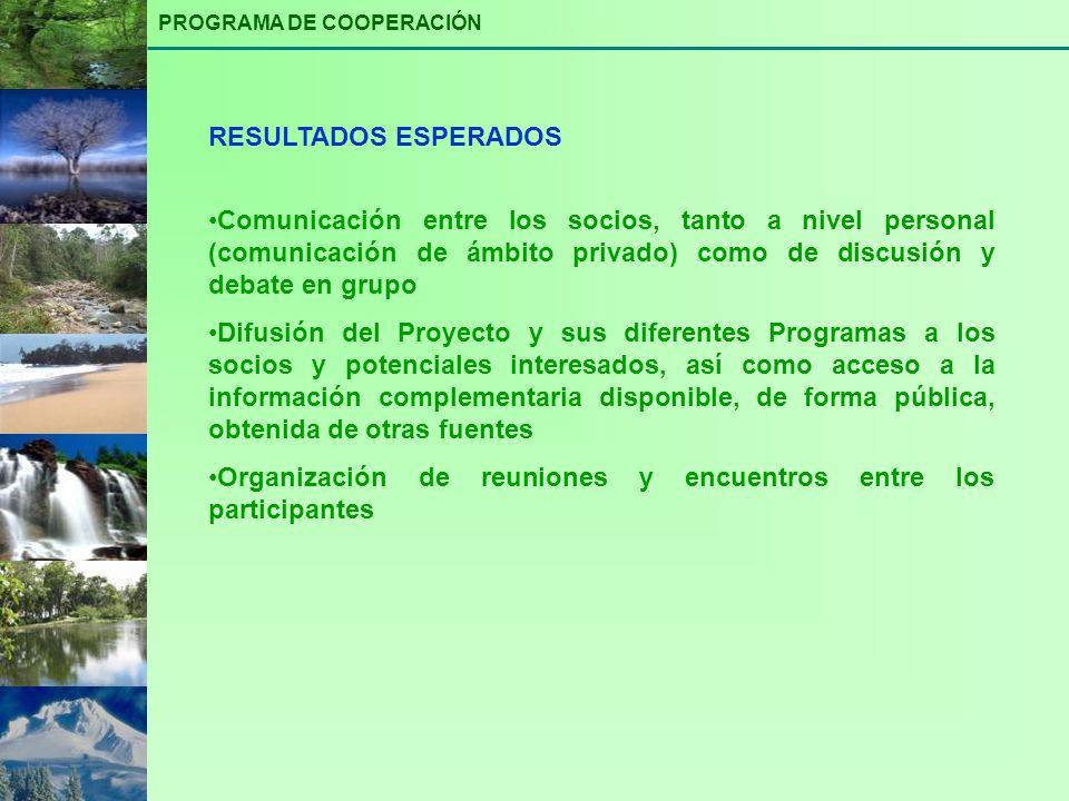 Comunicación entre los socios, tanto a nivel personal (comunicación de ámbito privado) como de discusión y debate en grupo Difusión del Proyecto y sus