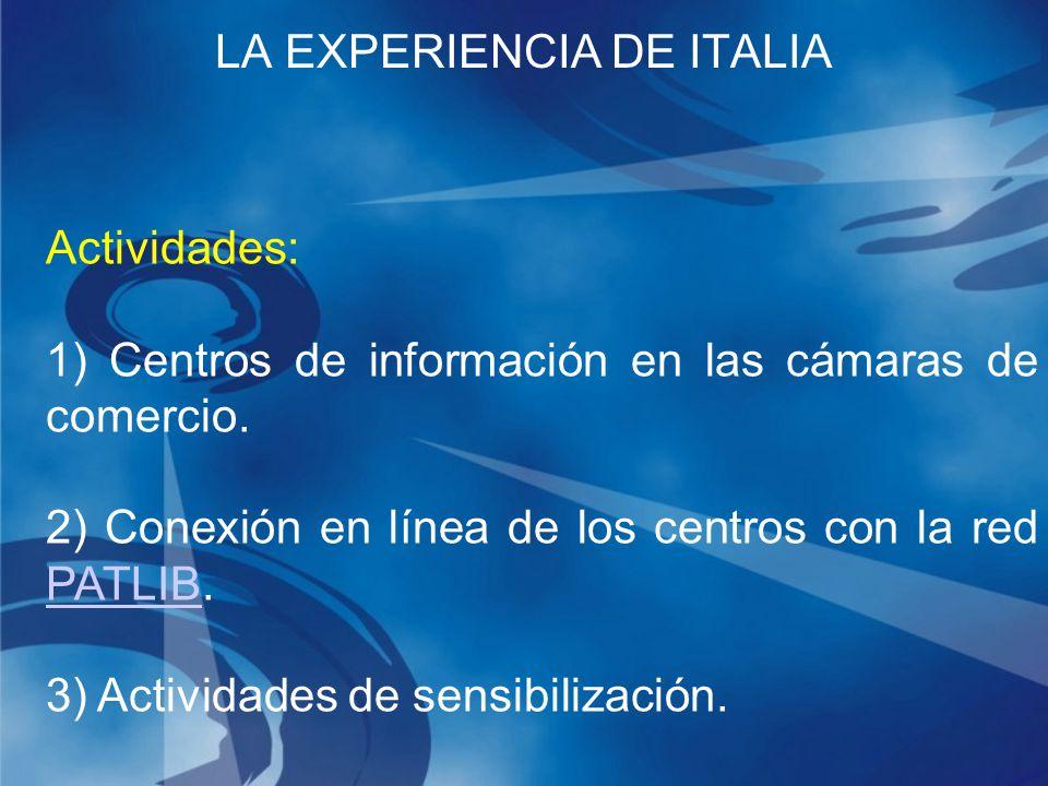 Actividades: 1) Centros de información en las cámaras de comercio.