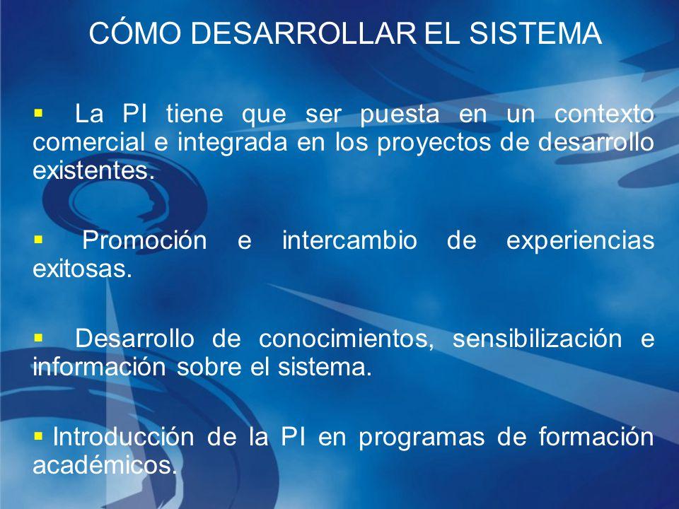 CÓMO DESARROLLAR EL SISTEMA La PI tiene que ser puesta en un contexto comercial e integrada en los proyectos de desarrollo existentes.