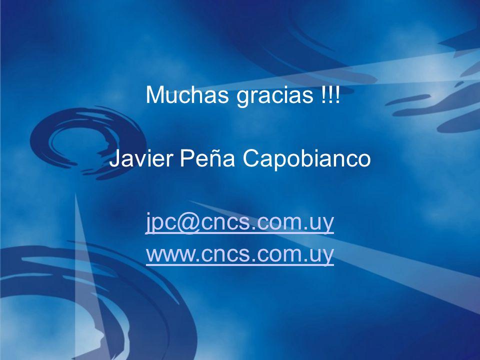 Muchas gracias !!! Javier Peña Capobianco jpc@cncs.com.uy www.cncs.com.uy