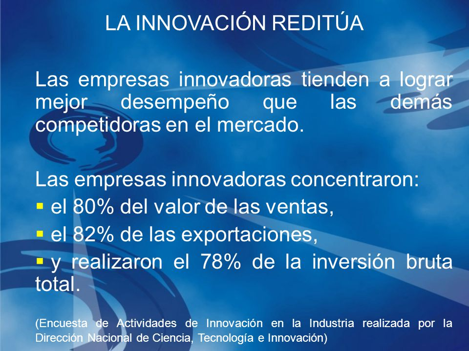 Las empresas innovadoras tienden a lograr mejor desempeño que las demás competidoras en el mercado.