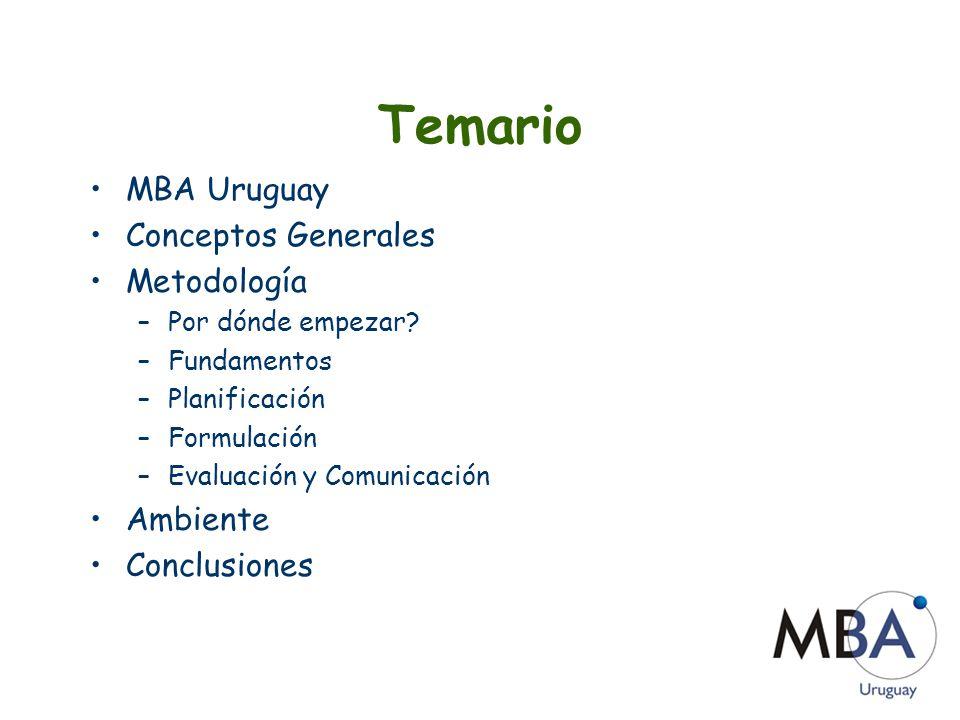 MBA Uruguay Profesionales uruguayos Realizaron MBAs (Master in Business Administration) en el exterior 110 miembros 56 universidades de 10 países 70% vive en el extranjero 30% en Uruguay www.mbauruguay.com