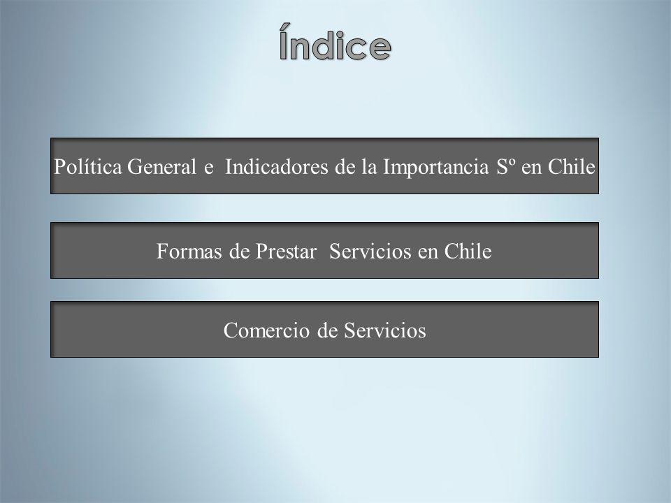 Política General e Indicadores de la Importancia Sº en Chile Formas de Prestar Servicios en Chile Comercio de Servicios