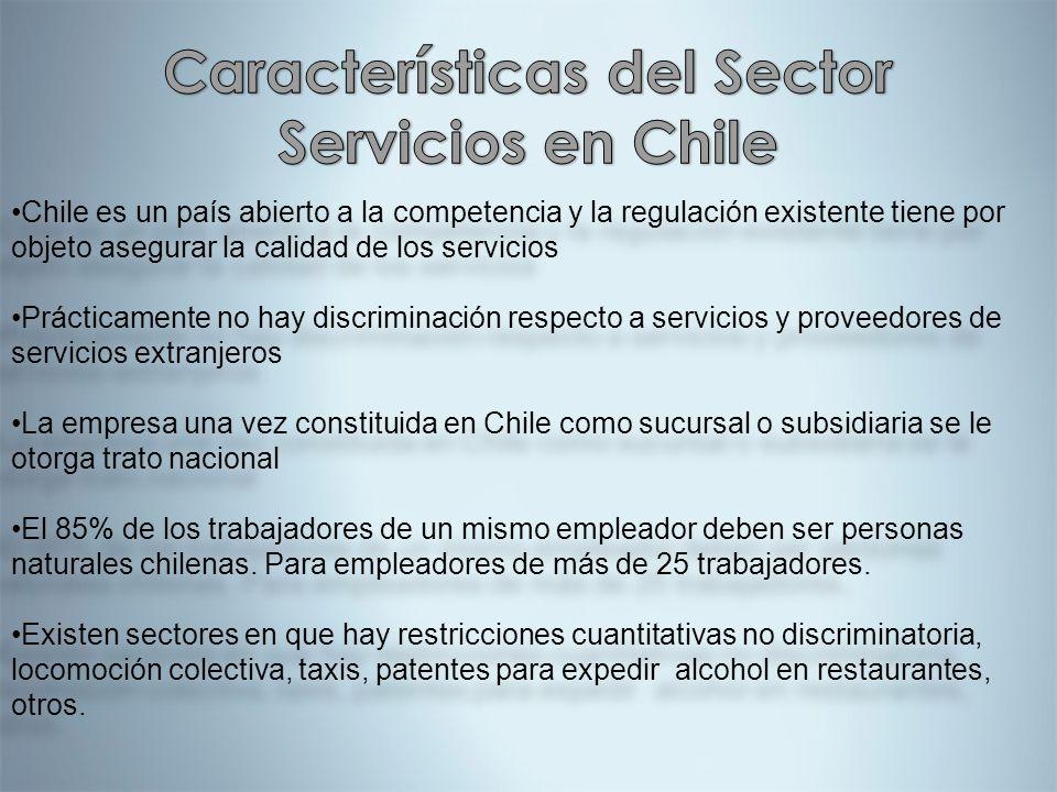 Chile es un país abierto a la competencia y la regulación existente tiene por objeto asegurar la calidad de los servicios Prácticamente no hay discrim