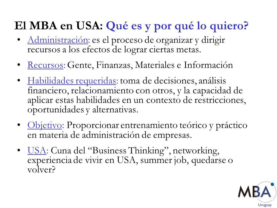 El MBA en USA: Qué es y por qué lo quiero? Administración: es el proceso de organizar y dirigir recursos a los efectos de lograr ciertas metas. Recurs