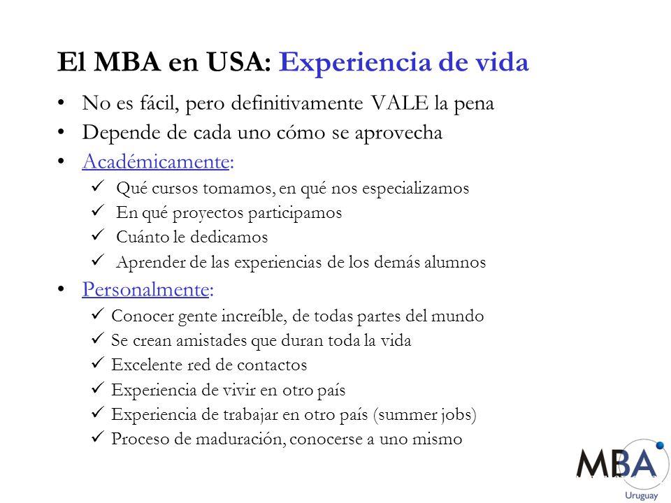 www.mbauruguay.com El MBA en USA: Experiencia de vida No es fácil, pero definitivamente VALE la pena Depende de cada uno cómo se aprovecha Académicame
