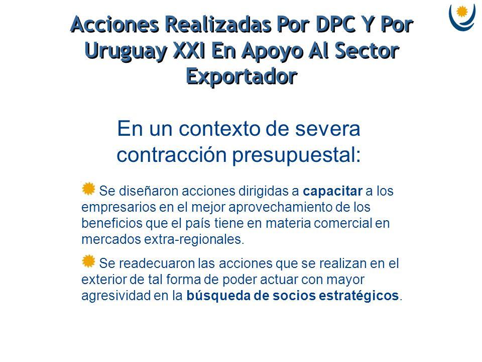 Acciones Realizadas Por DPC Y Por Uruguay XXI En Apoyo Al Sector Exportador Se diseñaron acciones dirigidas a capacitar a los empresarios en el mejor aprovechamiento de los beneficios que el país tiene en materia comercial en mercados extra-regionales.