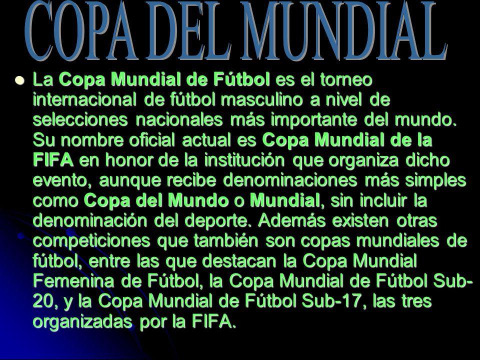 La Copa Mundial de Fútbol es el torneo internacional de fútbol masculino a nivel de selecciones nacionales más importante del mundo.