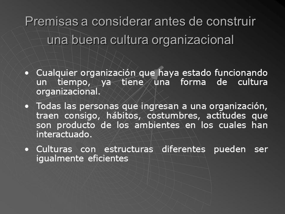 Características de una buena cultura organizacional Los miembros de la cultura organizacional de una organización exitosa, poseen las siguientes características: Tienen un alto sentido de trabajo en equipo.