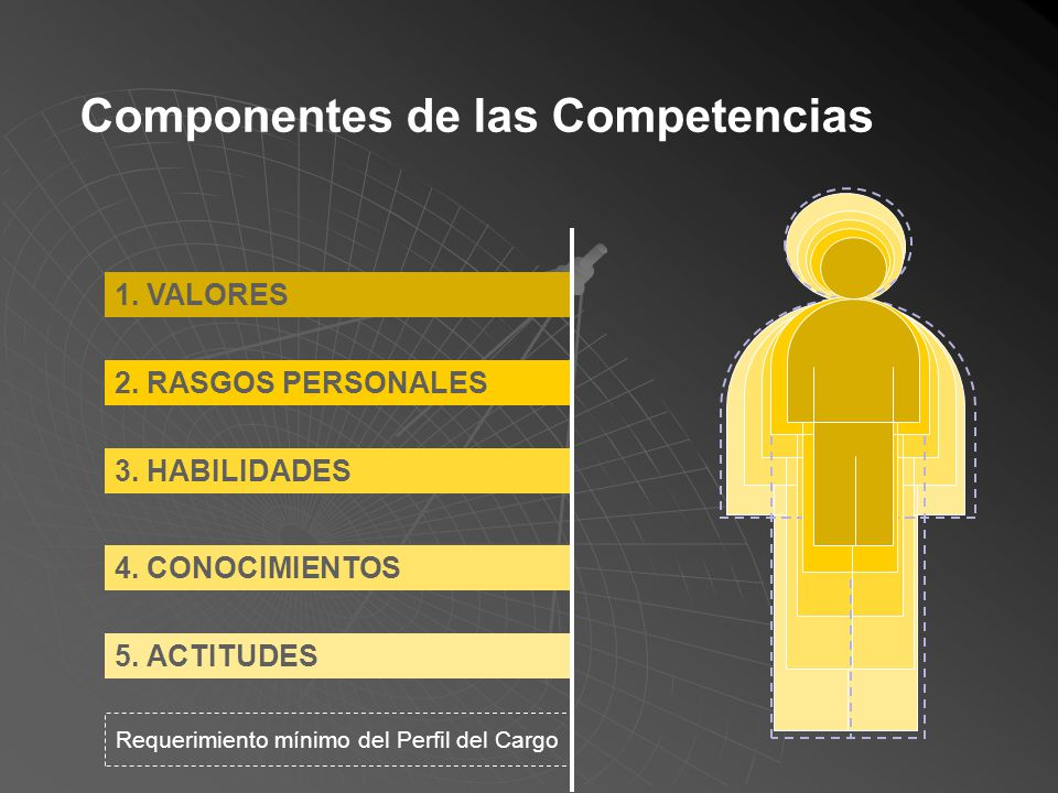 Definición de competencias: Conjunto de valores, rasgos de personalidad, habilidades, conocimientos, actitudes e intereses que posee un individuo y, q