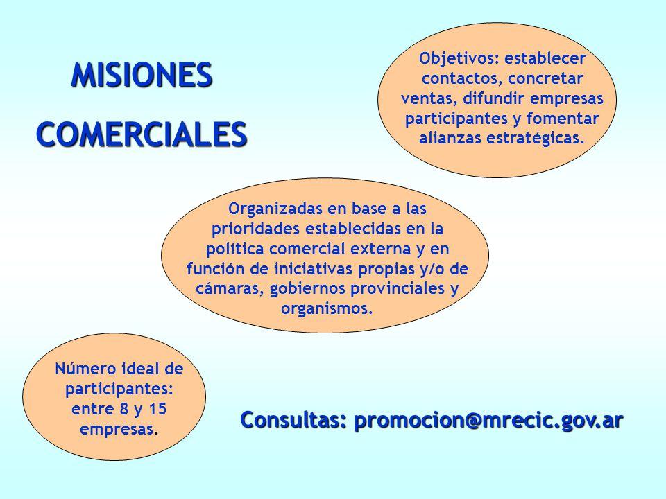 Consultas: promocion@mrecic.gov.ar MISIONESCOMERCIALES Organizadas en base a las prioridades establecidas en la política comercial externa y en función de iniciativas propias y/o de cámaras, gobiernos provinciales y organismos.