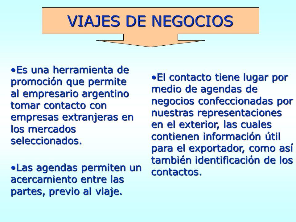VIAJES DE NEGOCIOS Es una herramienta de promoción que permite al empresario argentino tomar contacto con empresas extranjeras en los mercados seleccionados.Es una herramienta de promoción que permite al empresario argentino tomar contacto con empresas extranjeras en los mercados seleccionados.
