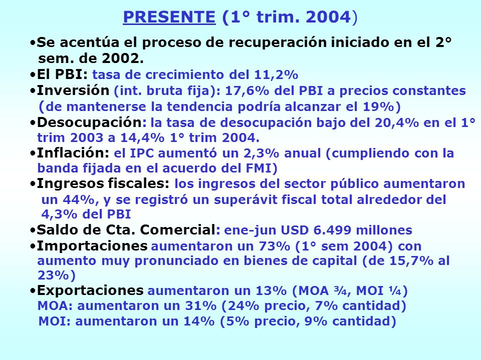 PRESENTE (1° trim. 2004) Se acentúa el proceso de recuperación iniciado en el 2° sem. de 2002. El PBI: tasa de crecimiento del 11,2% Inversión (int. b