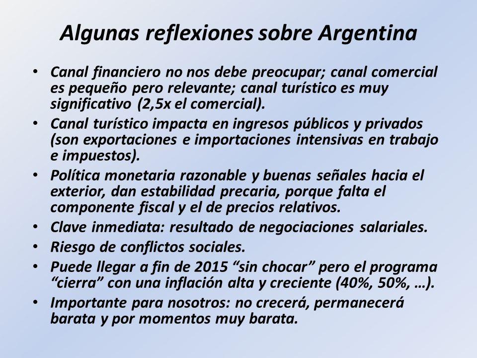 Algunas reflexiones sobre Argentina Canal financiero no nos debe preocupar; canal comercial es pequeño pero relevante; canal turístico es muy signific