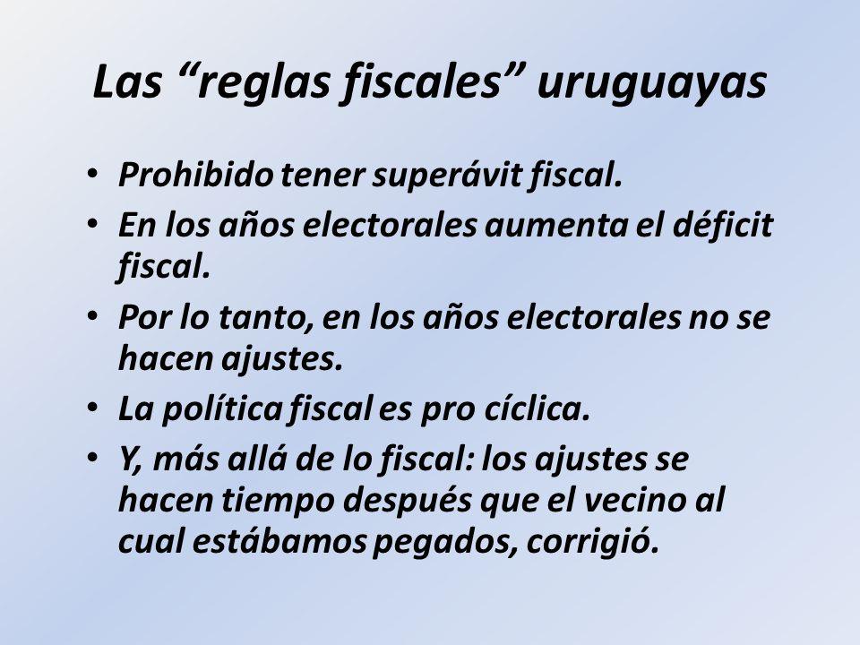 Las reglas fiscales uruguayas Prohibido tener superávit fiscal. En los años electorales aumenta el déficit fiscal. Por lo tanto, en los años electoral