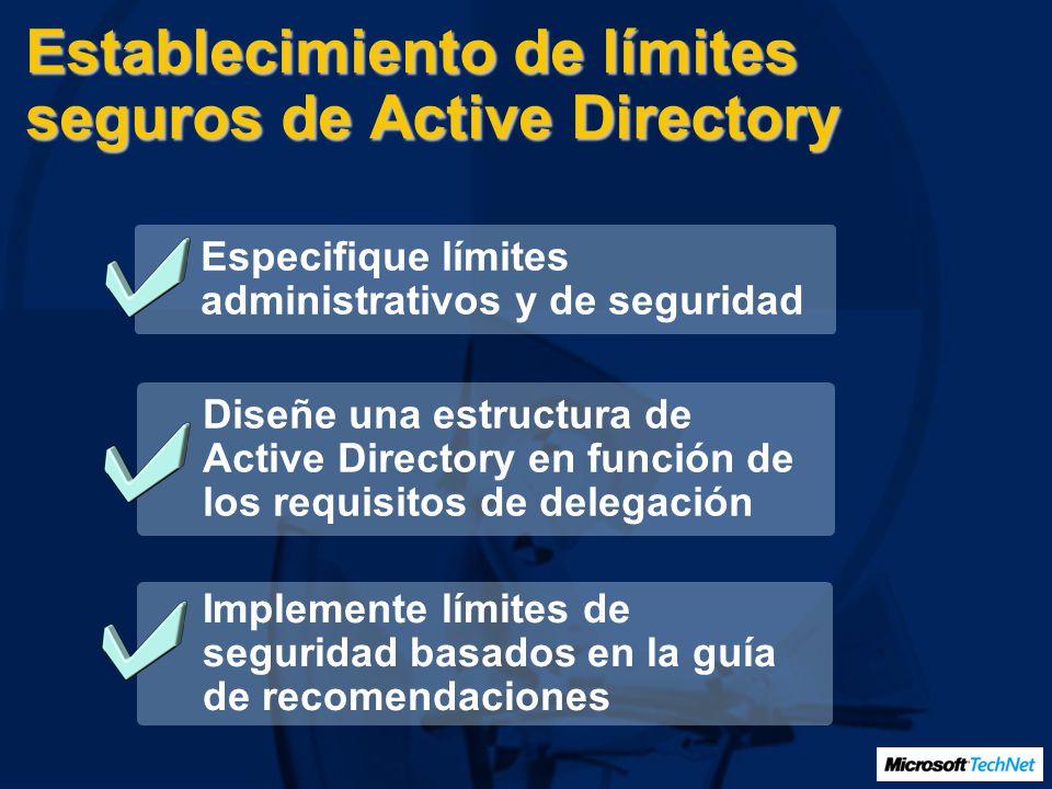 Establecimiento de límites seguros de Active Directory Especifique límites administrativos y de seguridad Diseñe una estructura de Active Directory en