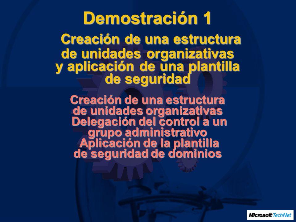 Demostración 1 Creación de una estructura de unidades organizativas y aplicación de una plantilla de seguridad Creación de una estructura de unidades