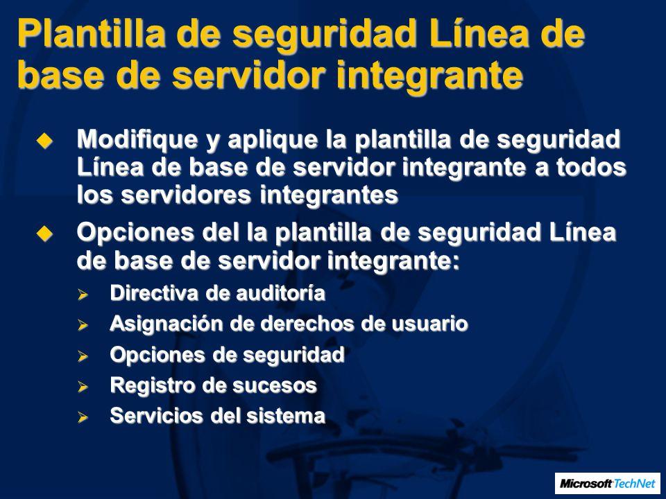 Plantilla de seguridad Línea de base de servidor integrante Modifique y aplique la plantilla de seguridad Línea de base de servidor integrante a todos