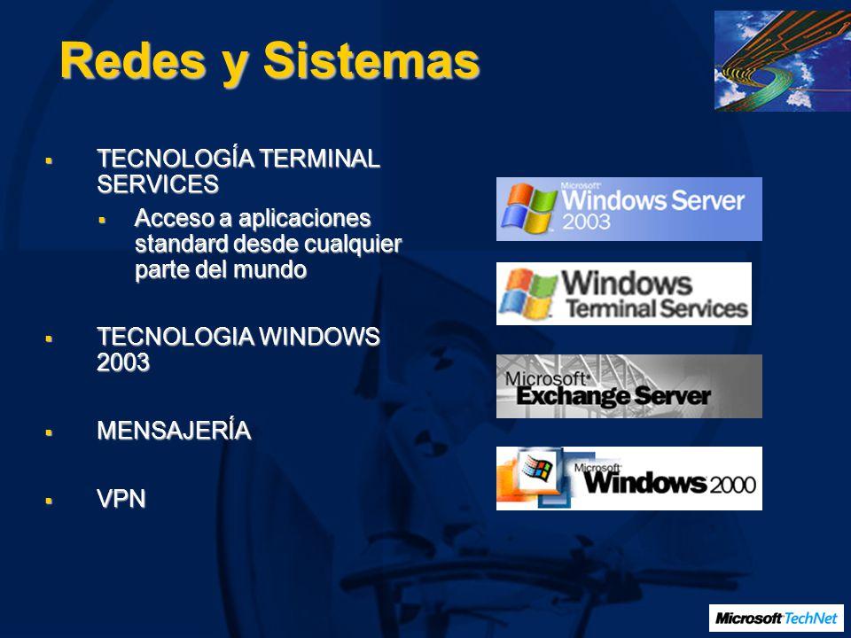 Redes y Sistemas TECNOLOGÍA TERMINAL SERVICES TECNOLOGÍA TERMINAL SERVICES Acceso a aplicaciones standard desde cualquier parte del mundo Acceso a apl