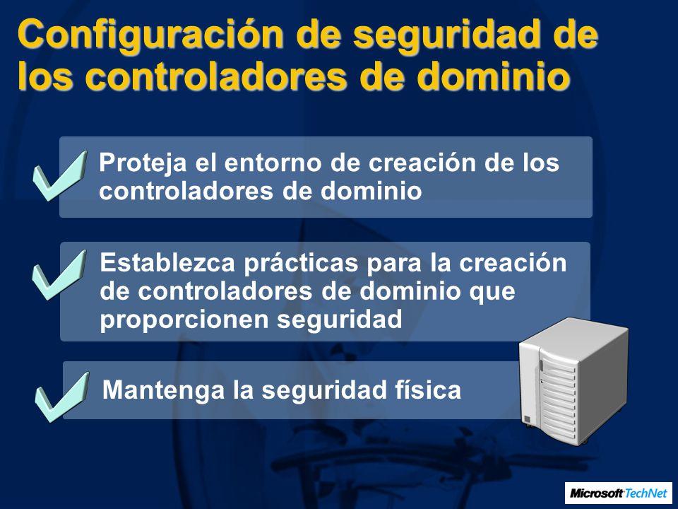 Configuración de seguridad de los controladores de dominio Proteja el entorno de creación de los controladores de dominio Establezca prácticas para la