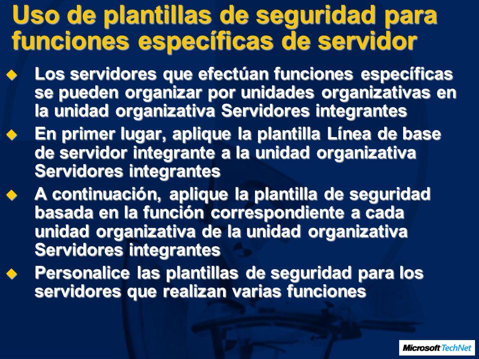 Uso de plantillas de seguridad para funciones específicas de servidor Los servidores que efectúan funciones específicas se pueden organizar por unidad