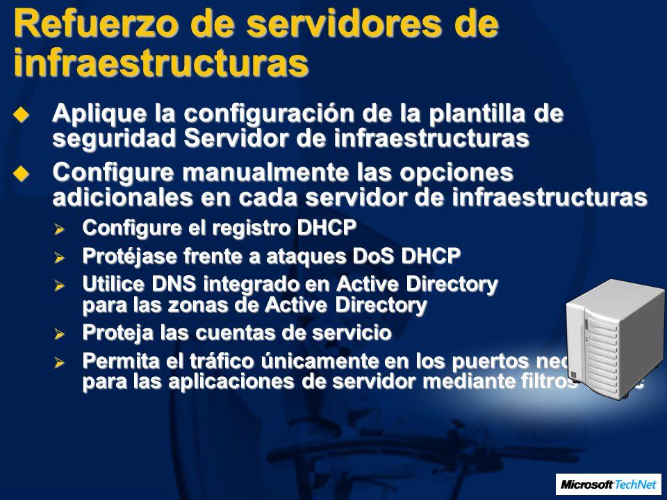 Refuerzo de servidores de infraestructuras Aplique la configuración de la plantilla de seguridad Servidor de infraestructuras Aplique la configuración