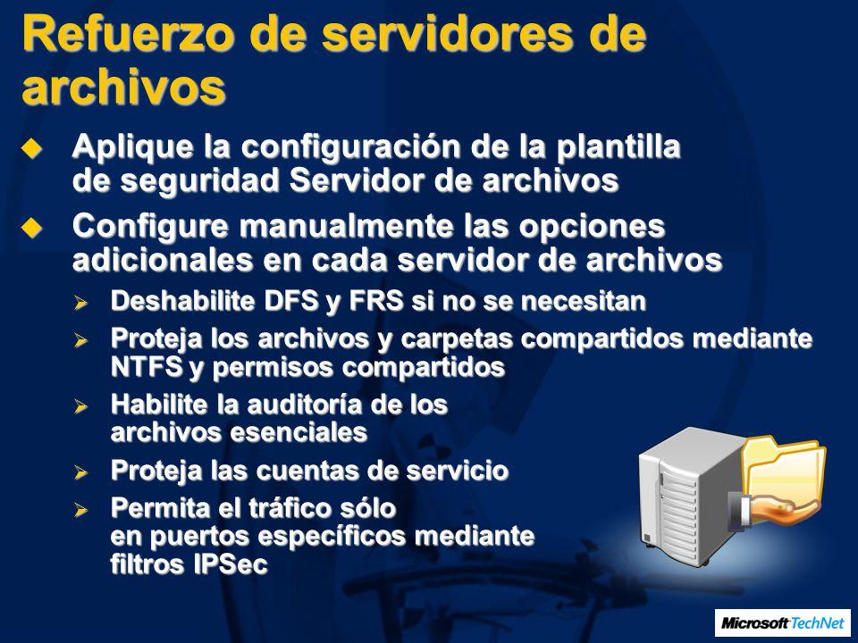 Refuerzo de servidores de archivos Aplique la configuración de la plantilla de seguridad Servidor de archivos Aplique la configuración de la plantilla