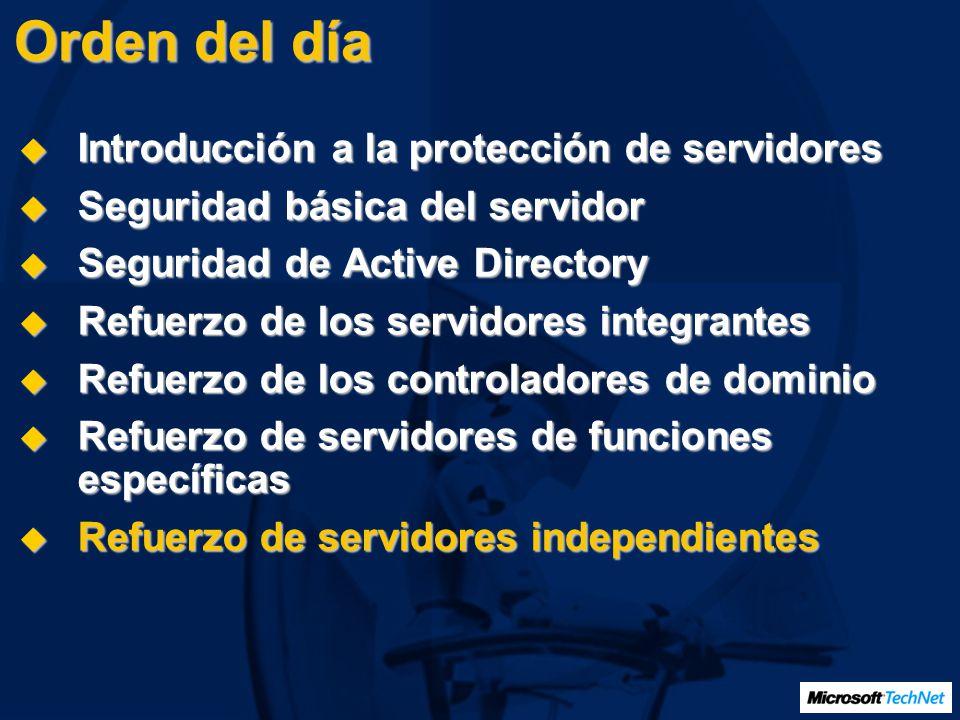 Orden del día Introducción a la protección de servidores Introducción a la protección de servidores Seguridad básica del servidor Seguridad básica del