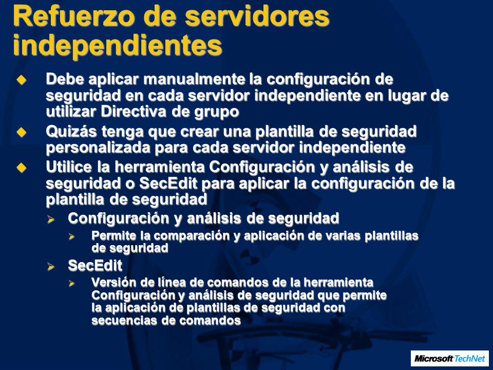 Refuerzo de servidores independientes Debe aplicar manualmente la configuración de seguridad en cada servidor independiente en lugar de utilizar Direc