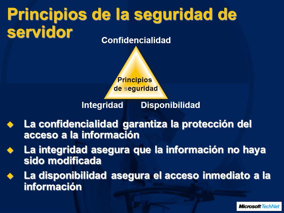 Principios de la seguridad de servidor La confidencialidad garantiza la protección del acceso a la información La confidencialidad garantiza la protec