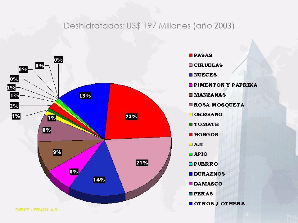 FUENTE : FEPACH A.G. Jugos: US$ 94 Millones (año 2003)