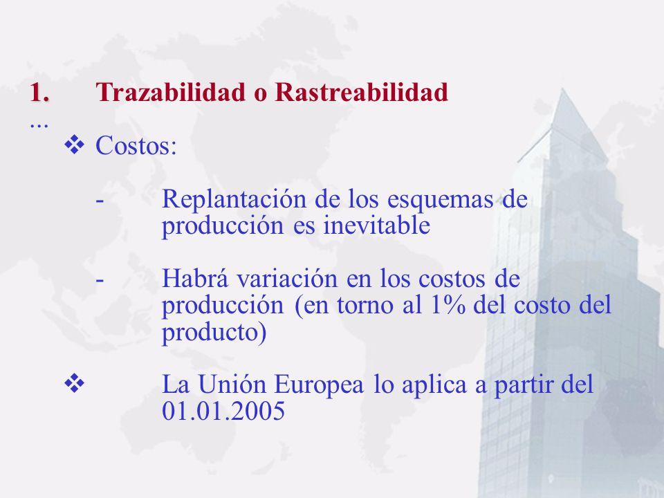 1. 1. Trazabilidad o Rastreabilidad Es un proceso mecánico que documenta todas las fases de producción y distribución por la que pasan los productos a
