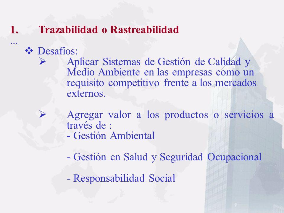 1. 1. Trazabilidad o Rastreabilidad... Costos: -Replantación de los esquemas de producción es inevitable -Habrá variación en los costos de producción(