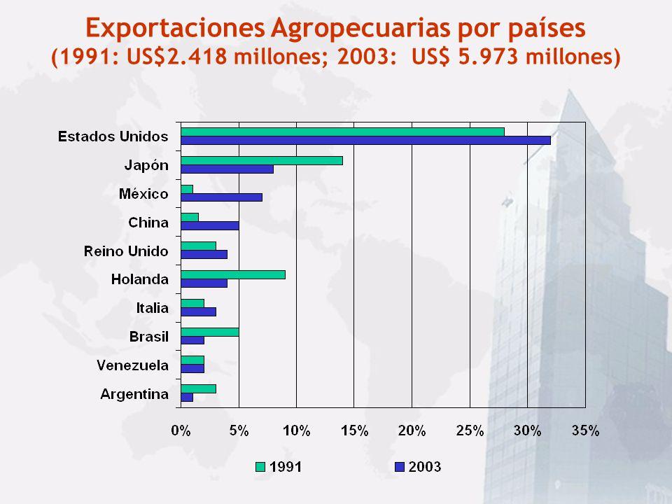 Exportaciones Agropecuarias por región geográfica (1991: US$2.418 millones; 2003: US$ 5.973 millones)