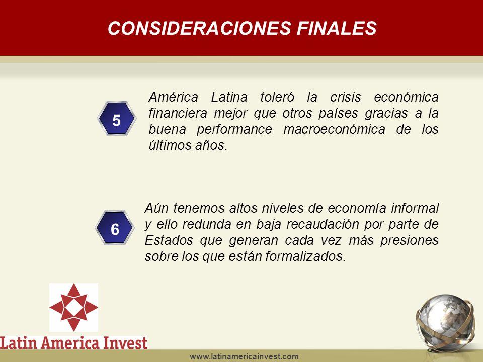 www.latinamericainvest.com CONSIDERACIONES FINALES 5 4 6 Aún tenemos altos niveles de economía informal y ello redunda en baja recaudación por parte de Estados que generan cada vez más presiones sobre los que están formalizados.