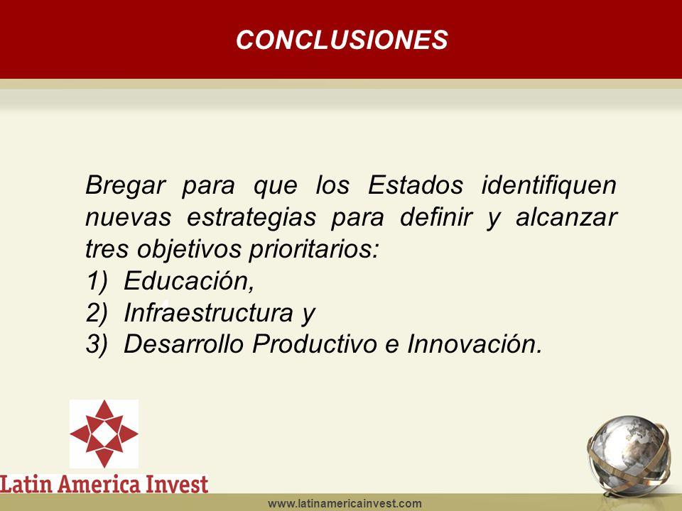 www.latinamericainvest.com CONCLUSIONES 4 Bregar para que los Estados identifiquen nuevas estrategias para definir y alcanzar tres objetivos prioritarios: 1)Educación, 2)Infraestructura y 3)Desarrollo Productivo e Innovación.