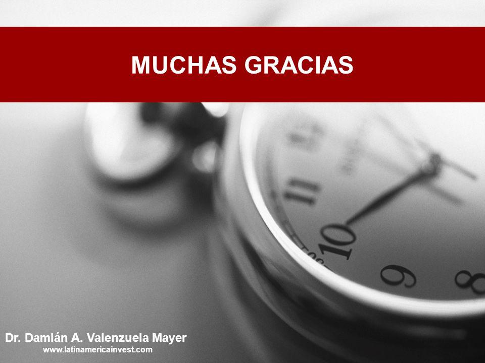 MUCHAS GRACIAS Dr. Damián A. Valenzuela Mayer www.latinamericainvest.com