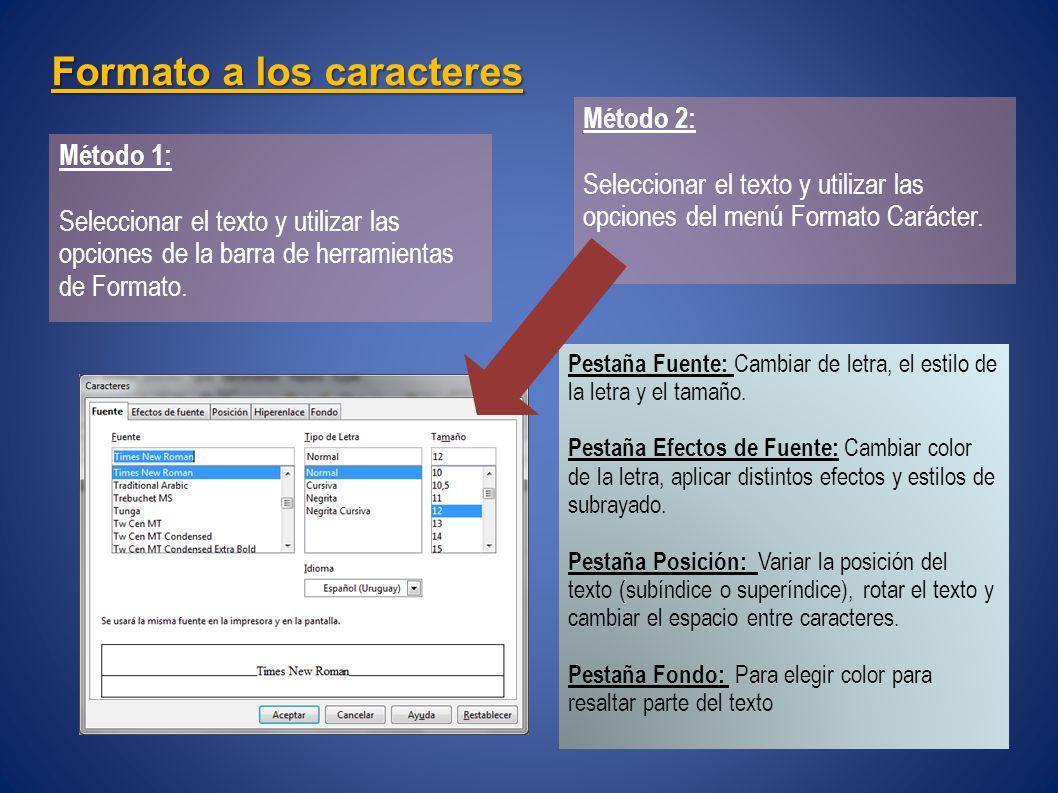 Formato a los caracteres Método 1: Seleccionar el texto y utilizar las opciones de la barra de herramientas de Formato.